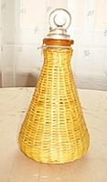 Régi francia szalmafonatos parfümös üveg, saját dugójával