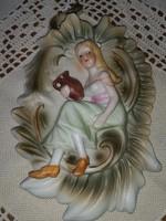 Régi jelenetes barokk porcelán falidísz