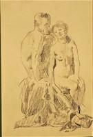 Herman Lipót (1884-1972) Aktok grafika szénrajz. Eredeti garanciával