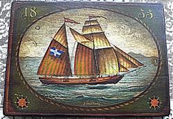 Vitorláshajó rusztikus  fára  festett