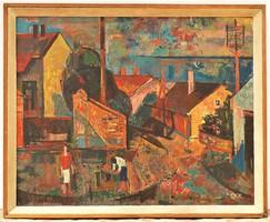HATALMAS 105x85cm Szentgyörgyi Kornél (1916-2006) Balatoni falu  olajfestmény eredeti garanciával..