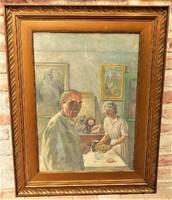 Klimó István (1883-1961) Önarckép a feleségével c. festménye 92x72cm EREDETI GARANCIÁVAL !!!