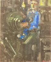 Ruzicskay György ( 1896-1993 ) Köszörűgépnél c. olajfestménye EREDETI GARANCIÁVAL !!!