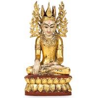 Buddha, aranyozott teakfa szobor