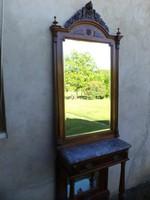 Antik ónémet tükrös konzolasztal