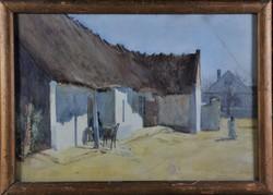 Herritz Oszkár (1883- ?): Tanyasi udvar, akvarell
