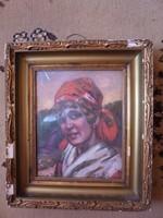 Szignált olaj karton portré