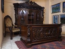 Neoreneszánsz dolgozószoba garnitúra, 20. század első fele