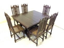 Antik reneszánsz étkező(asztal+6 szék)