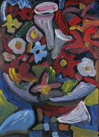 Németh Miklós (1934-2012): Virágcsendélet,