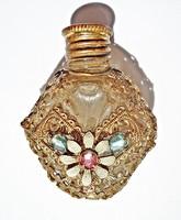 Régi apró virágos színes köves parfümös üveg