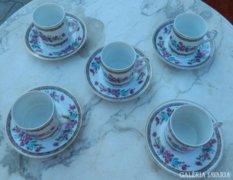 Ca. 40 éves kínai kávés csésze készlet 5fő részére