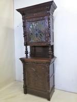Antik reneszánsz ólomüveges vitrin