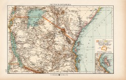 Német Kelet - Afrika térkép 1904, eredeti nyomat, Moritz Perles