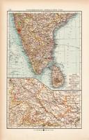 Dél - India (Hindusztán) térkép 1904, eredeti nyomat, Moritz Perles