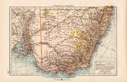 Dél - Ausztrália térkép 1904, eredeti nyomat, Moritz Perles