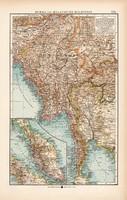 Burma és Maláj - félsziget térkép 1904, eredeti nyomat
