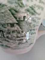 Szignós metszet nyomatával,régi vidéki angol táj templommal,zöld mintás csésze