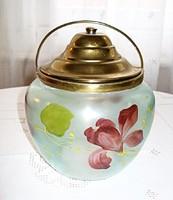 Réz fedeles és füles, kézzel festett üveg keksztartó /1900 as évek eleje/