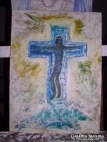 Krucifix, farostlemez, olaj Lehoczky József modern festménye - 40 x 30 cm keret nélkül.