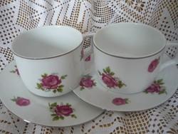 Antik Zsolnay rózsás teáscsésze 2db