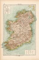 Írország térkép 1904, eredeti nyomat, Moritz Perles