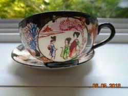 Kutani kézzel festett japán tojáshéj porcelán kávés csésze alátéttel