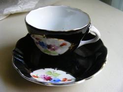 Régi aquincum kézi festés fekete  kávés csésze szett