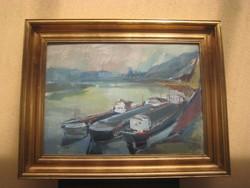 Papp László  / Miskolc 1922 -  /  Uszályok  c. olaj - farost   festménye