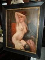 Álomszép nagy antik olaj akt festmény  H.Weiner-től 1887-ből szép biedermeier keretben