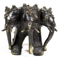 Bronz háromfejű elefánt szobor – 9cm