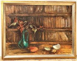 Somorjai Magda G. (1910-1995) Vadvirág c. . olajfestménye 90x70cm Eredeti Garanciával !!!
