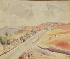 Gallé Tibor (1896-1944) Házak az út mellett c. akvarell festménye Eredeti Garanciával !!!