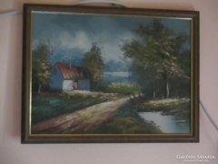 Olaj festmény faroston hozzá illő szép keretben.