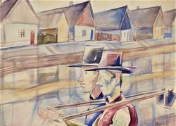 Gallé Tibor (1896-1944) Kubikusok akvarell festményeEredeti Garanciával !!!