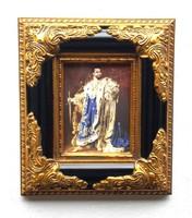 II.Lajos bajor király PORCELÁN KÉP RITKASÁG, GYÖNYÖRŰ BAROKK ARANY KERET, LUXUS AJÁNDÉK