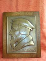 Szignált fali plakett: Calvin portré
