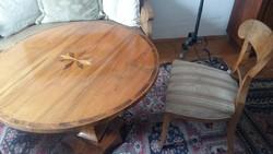 Biedermaier asztal, székekkel, kanapéval