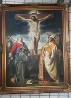 ÉRTÉKES FESTMÉNY MESTERMŰ: Krisztus a keresztfán ANTIK TÍPUSÚ OLAJFESTMÉNY és LUXUS ARANY KERET