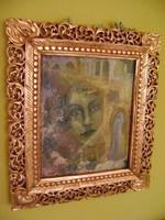 Antik  dupla faragott hársfából  készült florentin keret...