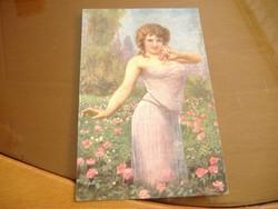 Mikor a rózsák nyílnak, antik képeslap