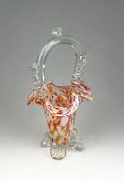 0R407 Régi muránói jellegű üveg kosár 21 cm