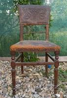 Antik mintás bőr borítású ónémet ónémet támlás szék