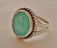 Szépséges régi tengerkék tűzzománcos ezüstgyűrű