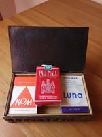 Retro réz cigaretta tartó doboz + 2 db bulgáriai retro cigaretta