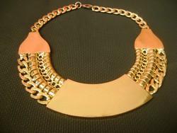 Aranyozott női dizájner ékszer nyakék collier nem mindennapi ritka modell.