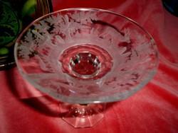 Biedermeier metszett talpas üveg asztalközép-kehely-erdőjelenetekkel