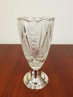 Gyönyörű szép ezüst talpú ólomkristály váza