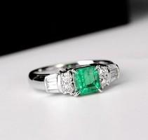 Smaragdzöld köves gyűrű 7-es ÚJ!