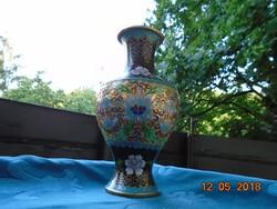 Rekeszzománc,cloisonné ,kínai váza lótuszmintával aranyzománc alapon-21 cm